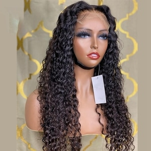 Black Colored Long Kinky Curly Synthetic Lace Front Wigs For Black Women Middle Ratio Daily Wear Wig Glueless Heat Ressistant
