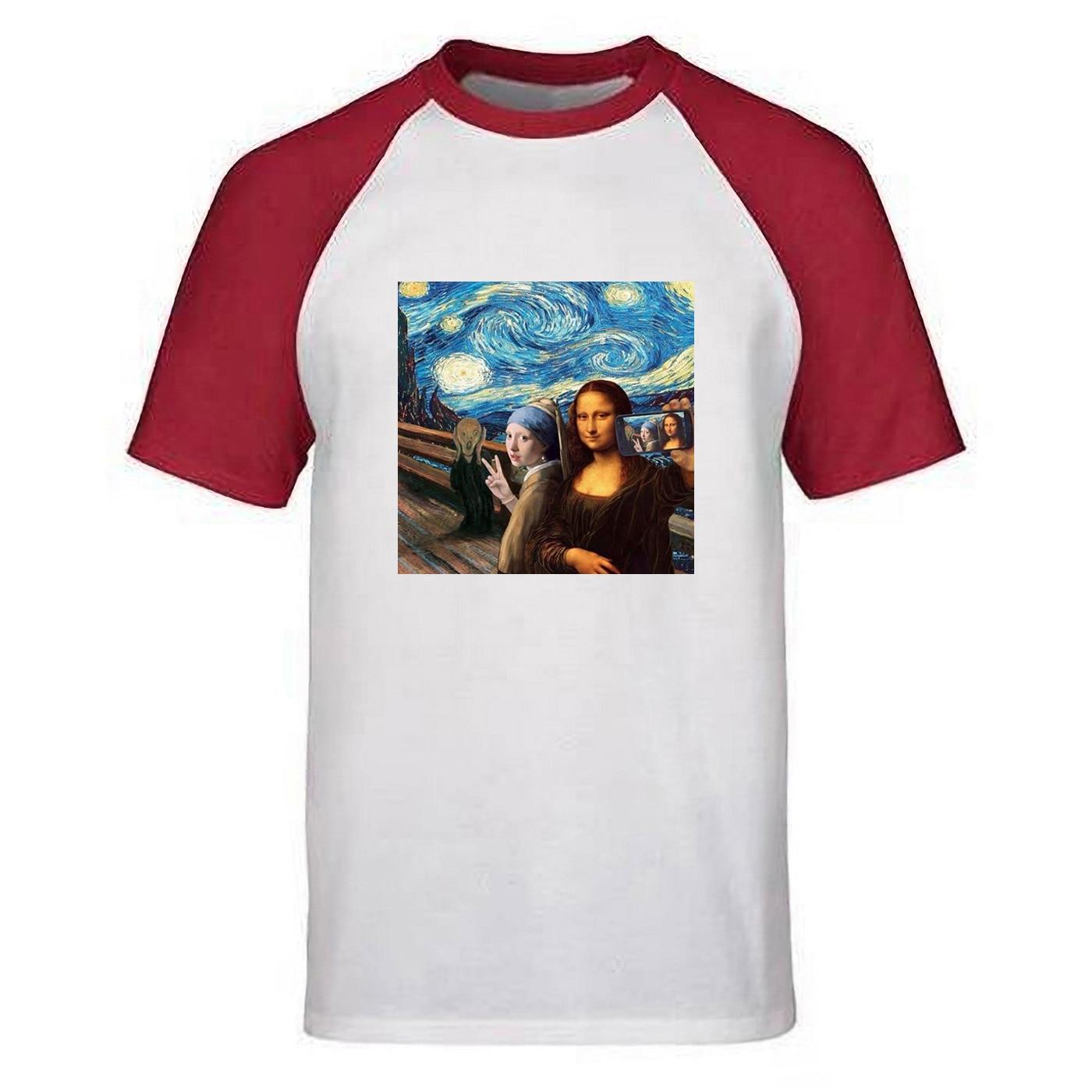 Het meisje conocido de parel camiseta hombres Vermeer Da Vinci Van Gogh Mona Lisa T shirt la noche estrellada camisetas de algodón de verano Top camisas