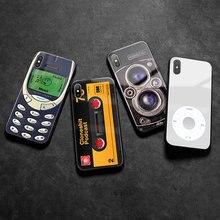 Ancien Vintage Rétro Mobile Double caméra de recul verre Téléphone Coque Pour Apple iPhone 6 6s 7 8 Plus X XR XS 11 PRO MAX