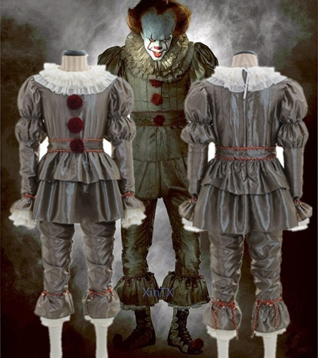 Hot!Pennywise Cosplay Costume for Men Women stephen King's it Terror Latex Mask Fancy Dress for Halloween Party Horror Costumes pennywise costume stephen king s it scary clown mask costume adult men women horror halloween pennywise the clown costume