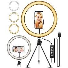 Lumière Danneau De Selfie Extensible Trépied Flexible support pour téléphone En Direct/Maquillage UBeesize Mini Bureau caméra LED Ringlight
