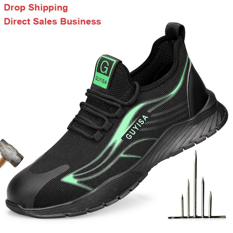 Sapatas de Segurança do Trabalho Sapatos de Dedo do pé de Aço Tênis de Trabalho Botas de Segurança dos Homens Sapatos de Trabalho Anti-punção Indestrutível Respirável