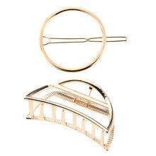 Pince à pince Simple en métal doré et épingles à cheveux rondes géométriques