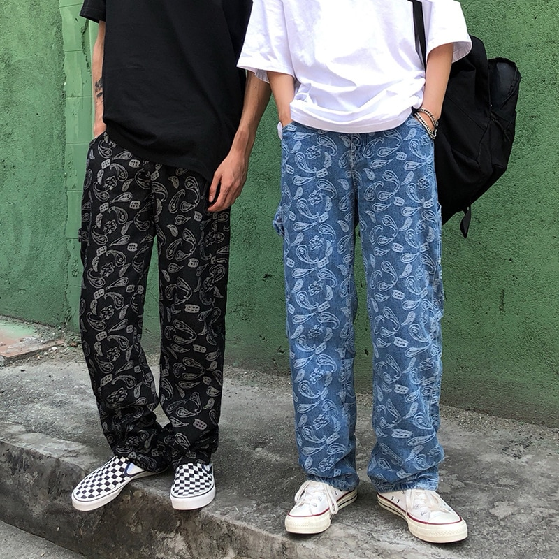 Fashion New Street Hip Hop Embroidery Jeans Loose Straight Leg Retro Men and Women Jeans Punk Loose Jeans Women Hip Hop Jeans