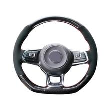 5D In Fibra di Carbonio e Pelle Scamosciata Volante In Pelle Cucito A Mano Dellinvolucro di Copertura Misura Per Volkswagen Golf 7 GTI / Golf R MK7 / VW Polo GTI