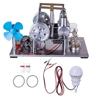 balance type two cylinder hot air stirling engine generator model science experiment educational toy with fan voltage meter bulb