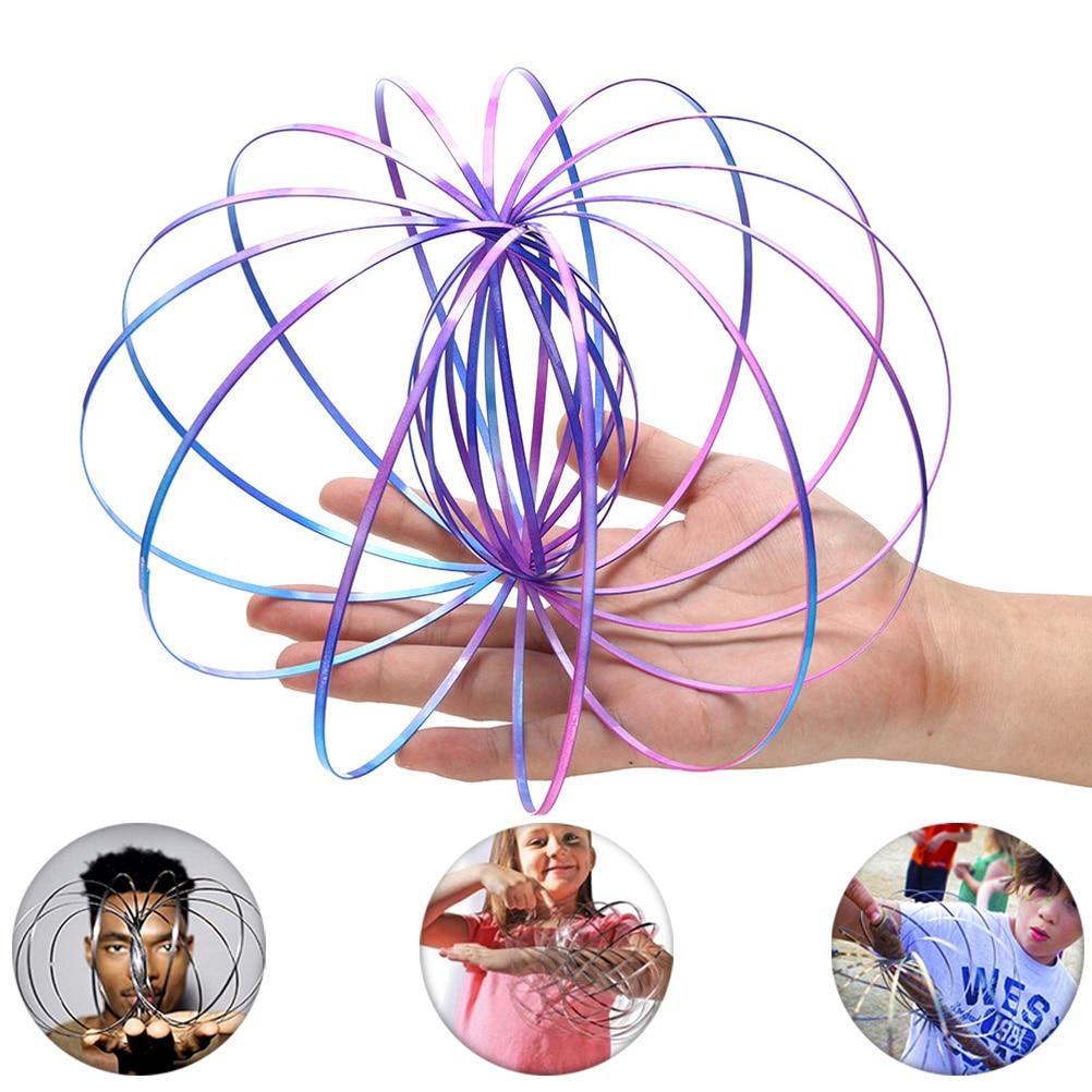 Pulsera mágica aniti-stress Magic Toroflux, divertido Flow Ring Kinetic Spring Toys, Spinner antiestrés de juguete de acero inoxidable
