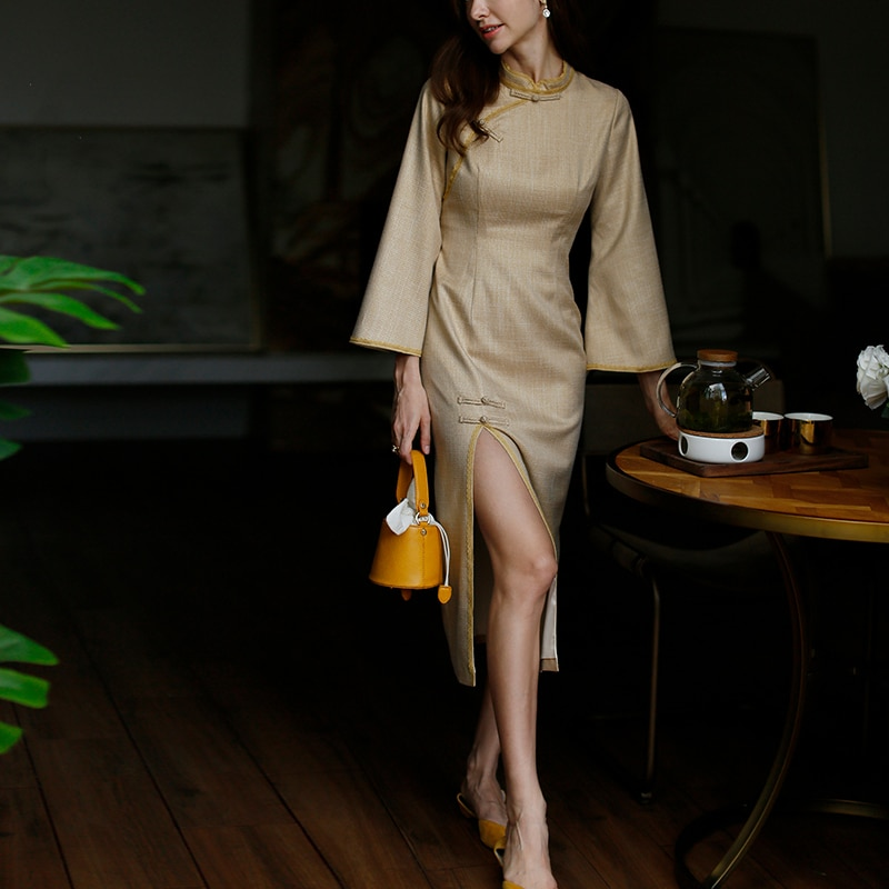 ROJAY-robe pied-de-poule   Robe Cheongsam chinoise, nouveau Style, fente haute, moulante