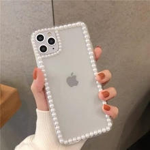 Luxo simples 3d pérola quadro transparente caso de telefone para iphone 11pro x xr xs max 7 8 plus anti queda macio silicone capa fundas