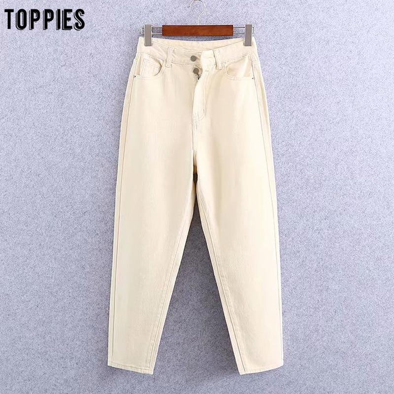 toppies beige jean pants women high waist denim harem pants leisure trousers casual streetwear