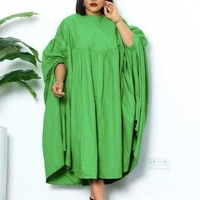 women loose dresses o neck pleated casual fashion large size ladies female african fashion spring summer new 2021 baggy robes