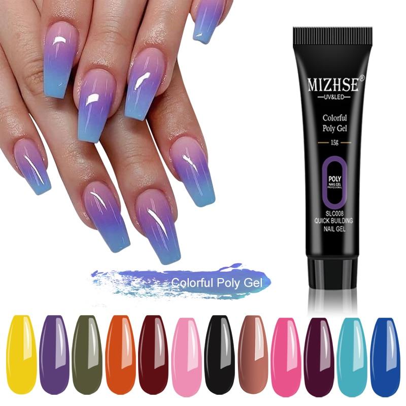 Esmalte de uñas MIZHSE, Gel acrílico Poly UV, Neon Colors LED, Gel duro para manicura de Gel, arte de extensión de uñas de los dedos