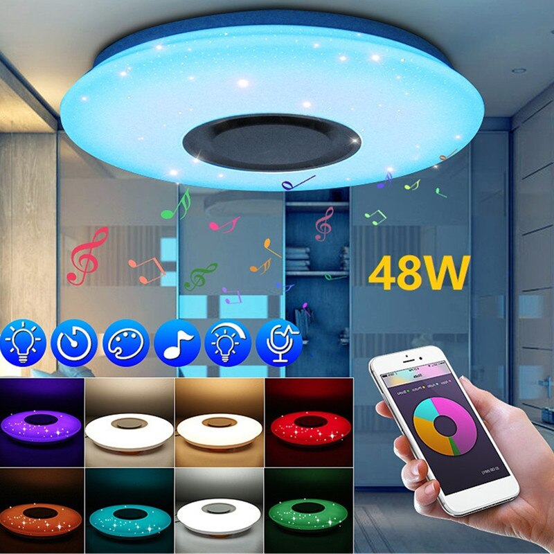 RGB Modern Led Ceiling Lights for Living Room Music Ceiling Lamp Remote&APP Control 24/48/60W Bluetooth Speaker Lighting Fixture