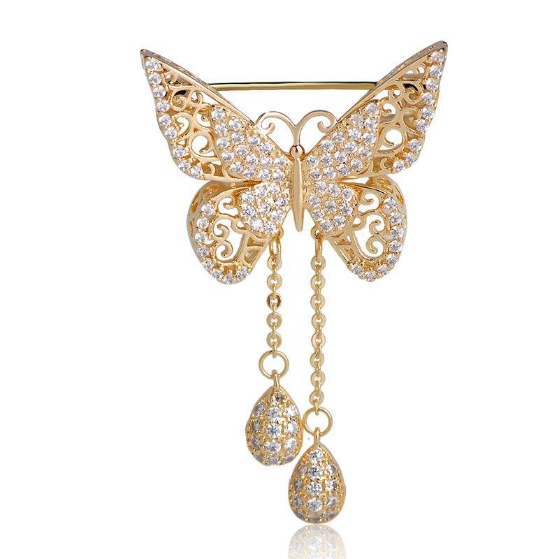 Broches de doble mariposa de zirconia cúbica Blucome para mujer, lujoso colgante de borla, broche de cobre Animal, decoración para fiesta de boda, alfileres