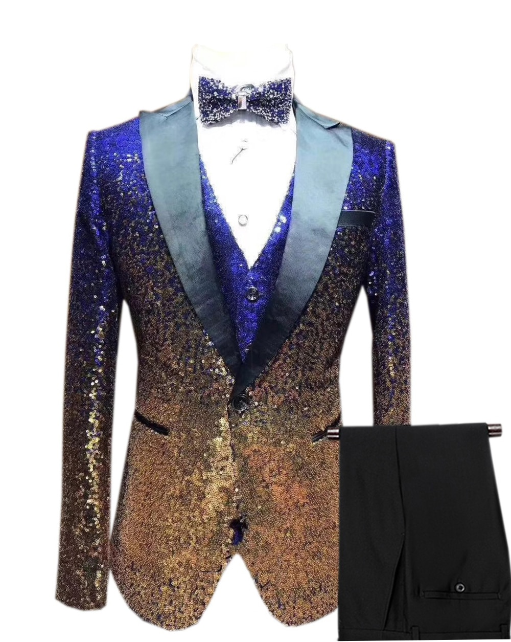 Chaqueta de esmoquin para hombre con 3 piezas de lentejuelas de Color para hombre, chaqueta de esmoquin con solapa de muesca para boda, Borgoña, dorado, plateado, Real (Blazer + chaleco + Pantalones)