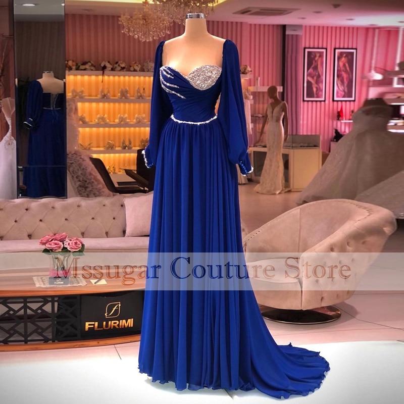 Vestido De noche azul elegante, manga larga, plisado, Informal, para Fiesta De...