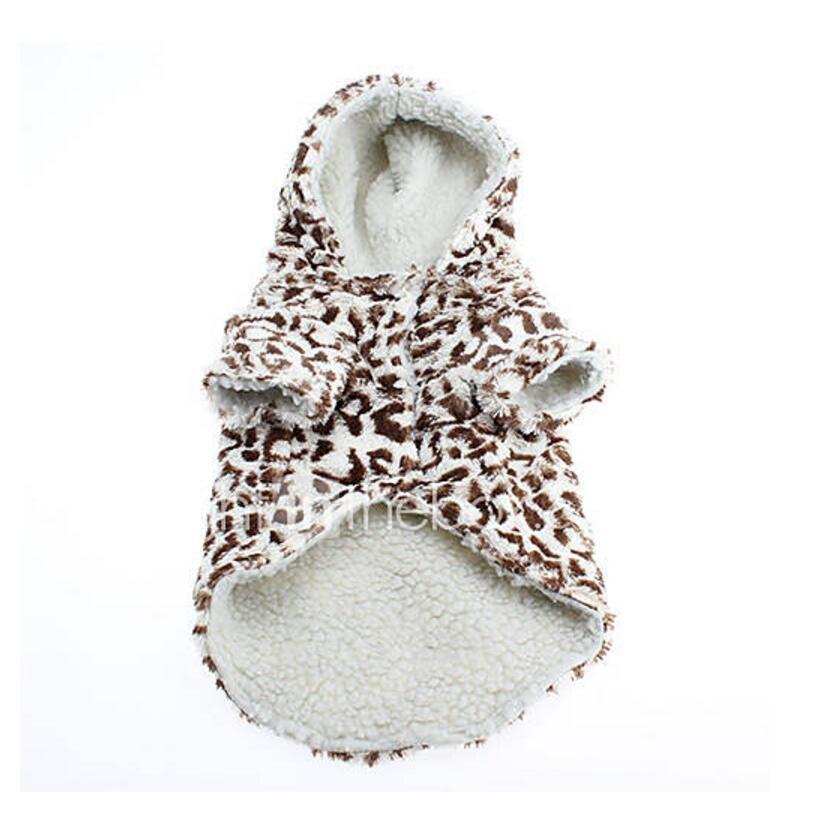 Mascota perro invierno cálido chaqueta abrigo perro cachorro moda con capucha leopardo Patrón general para Chihuahua de peluche ropa para mascotas pequeña talla L