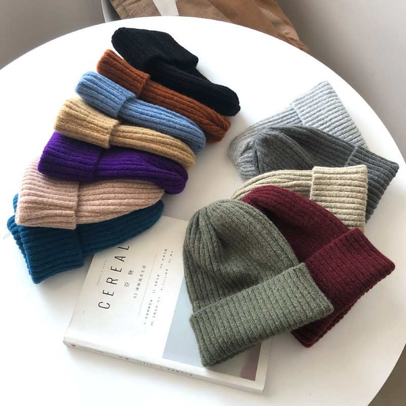 New Candy Colors Winter Hat Women Knitted Hat Warm Soft Trendy Hat Kpop Style Wool Beanie Elegant All-match Hat