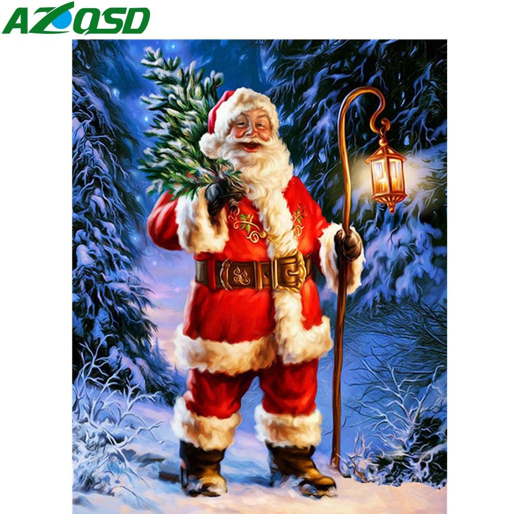 AZQSD pintura de diamantes Santa Claus punto de cruz Venta de bordado de taladro completo dibujos animados adornos navideños para el hogar 5d Diy regalo