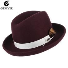 Hombourg chapeau Fedora classique   Chapeau pour hommes femmes Vintage couleur unie, chapeau en feutre de laine à bord incurvé avec ruban Floral fait à la main