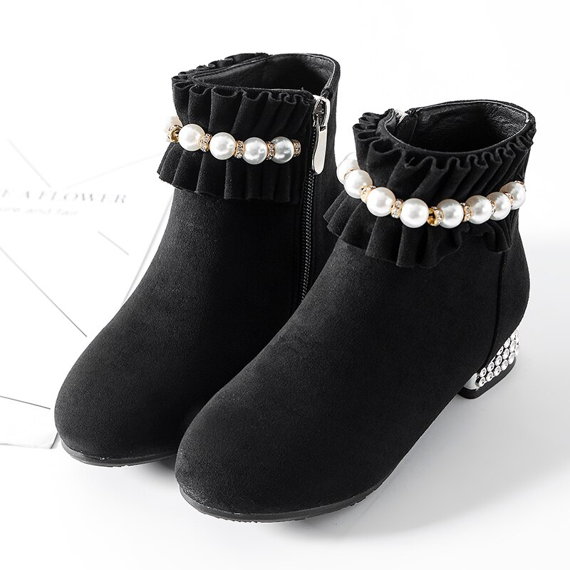 Girls' boots high heels Christmas red girls' shoes party gifts children's warm snow boots cotton boots children's Boots enlarge