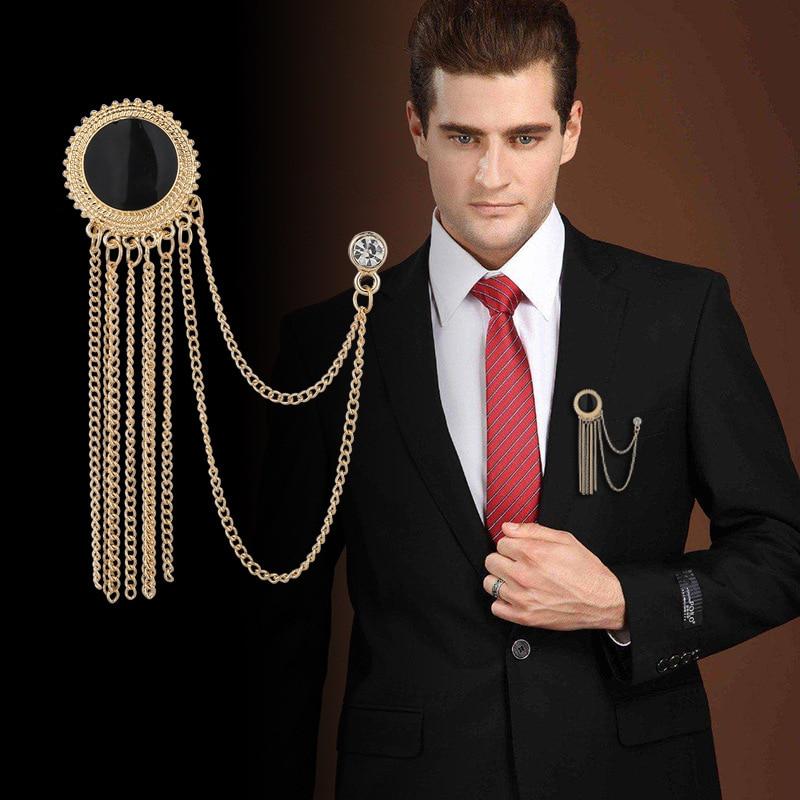 New Fashion Metal Rhinestone Crystal Brooch Men's Suit Shirt Collar Pin Black Tassel Corsage Brooches Jewelry Luxury Accessories
