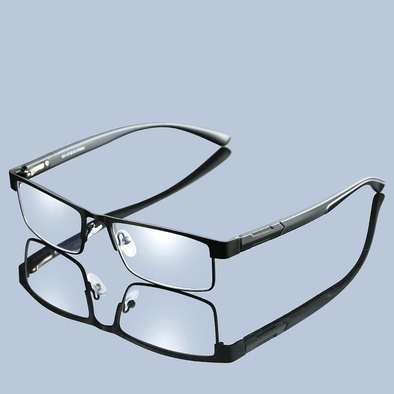 Lightweight Metal Reading Glasses Unisex Business Clear Presbyopic Glasses Spring Hinge Full Frame black/silver +1.5 2.5