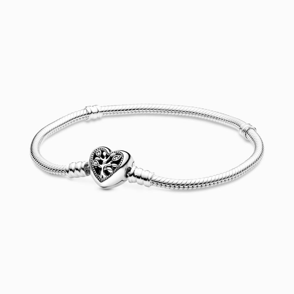 Árbol de corazón de amor de familia S925 pulsera con cadena de serpiente en forma de Pandora encantos de plata esterlina DIY pulsera de mujer joyería regalo