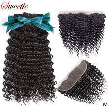 Sweettie-extensions de cheveux brésiliens non-remy, extensions de cheveux 100% naturels, avec Frontal Closure, lots de 3
