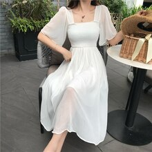 RUGOD 2020 New Summer Chiffon Dress Women Casual Square Collar Butterfly sleeve Pleated dress A-line Fairy Temperament dress
