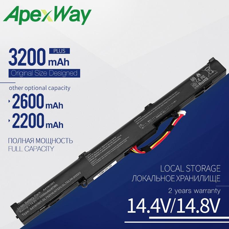 Apexway A41N1501 batería de portátil para Asus VivoBook Pro N552VW N552VX N752VX para ZenBook Pro 14 UX450 15 UX580 L41LK2H A41Lk9H