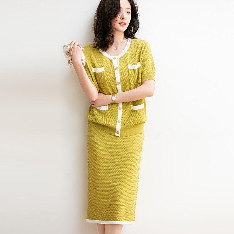 2 uds cárdigan de verano para mujer + conjunto de falda cuello redondo bolsillo ropa de punto manga corta elegante conjunto de cárdigan de dos piezas