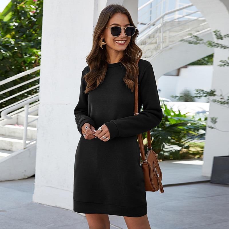 Leosoxs Autumn Winter O Neck Long Sleeve Women's Sweatshirt Dress 2020 New Fashion Solid Loose Pocke