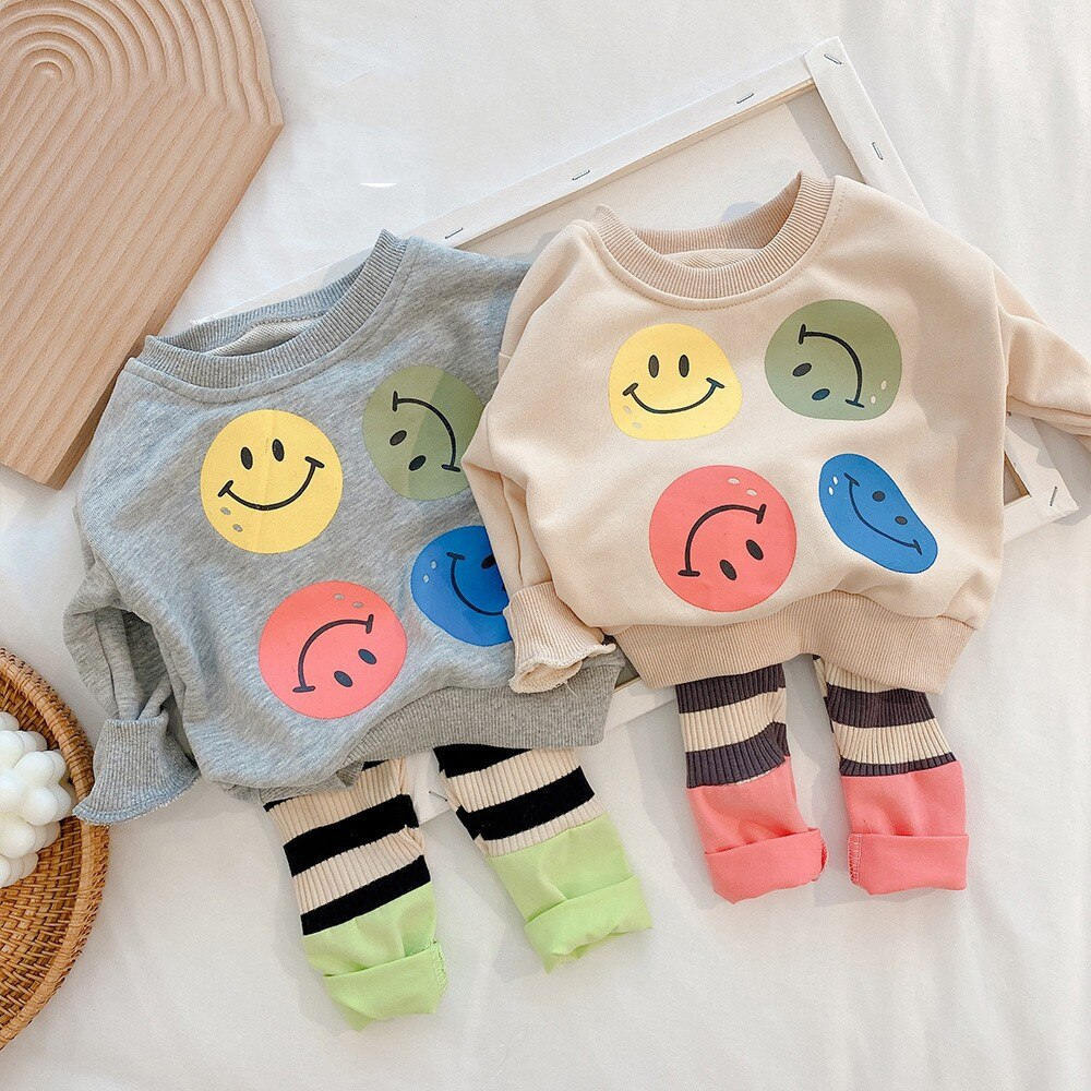 Baby Boys Girls Pajamas Sets Cotton Sweatshirt Suit Pyjamas Long Sleeve Tops+pants Kids Baby Boy Girls Cute Cartoon Clothes Set children s suit baby boy clothes set cotton long sleeve sets for newborn baby boys outfits baby girl clothing kids suits pajamas