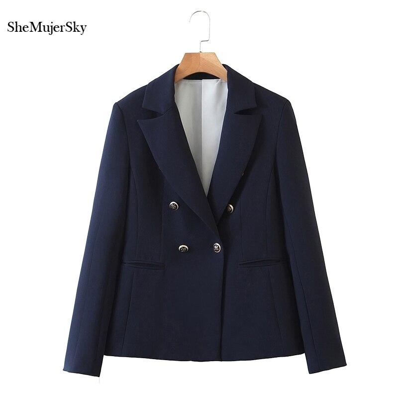 Chaqueta SheMujerSky azul oscuro para mujer, trajes de invierno con doble botonadura, abrigos de mujer 2020, chaqueta de mujer