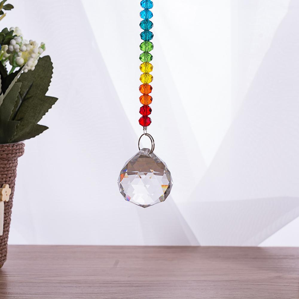230mm Arco Iris cristal prisma Suncatcher bolas facetadas cuentas de cristal colgantes para piezas de araña coche colgante dormitorio colgante