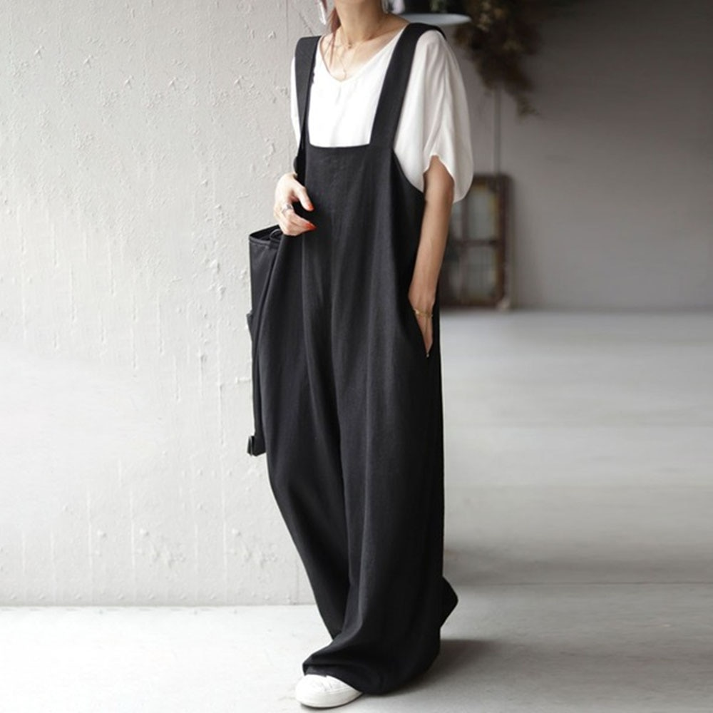 One Piece Women Jumpsuit OL Commuter Trousers Plain Pockets Ladies Fashion Loose All-in-one Female C