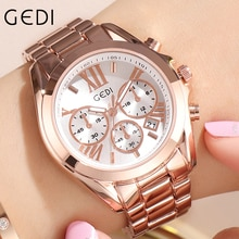 GEDI Rose Gold Women's Watches Luxury Stainless Ladies Watch Casual Dress Quartz Wrist Watch For Wom