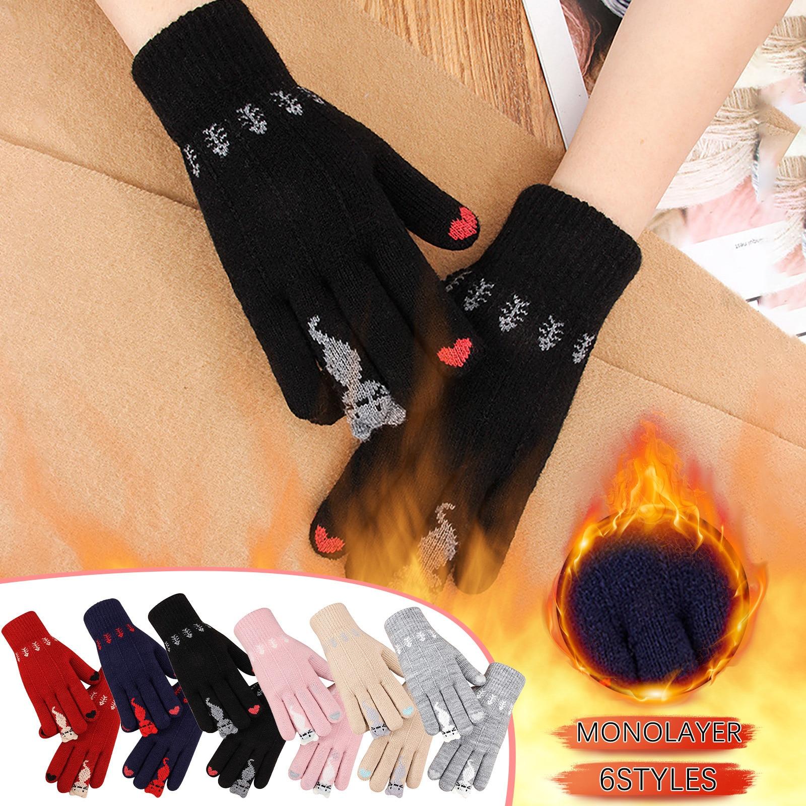 Fashion Women Men Unisex Winter Girl Knitted Finger Keep Warm Cat Print Winter Gloves Soft Warm Mitten comfortable soft перчатки