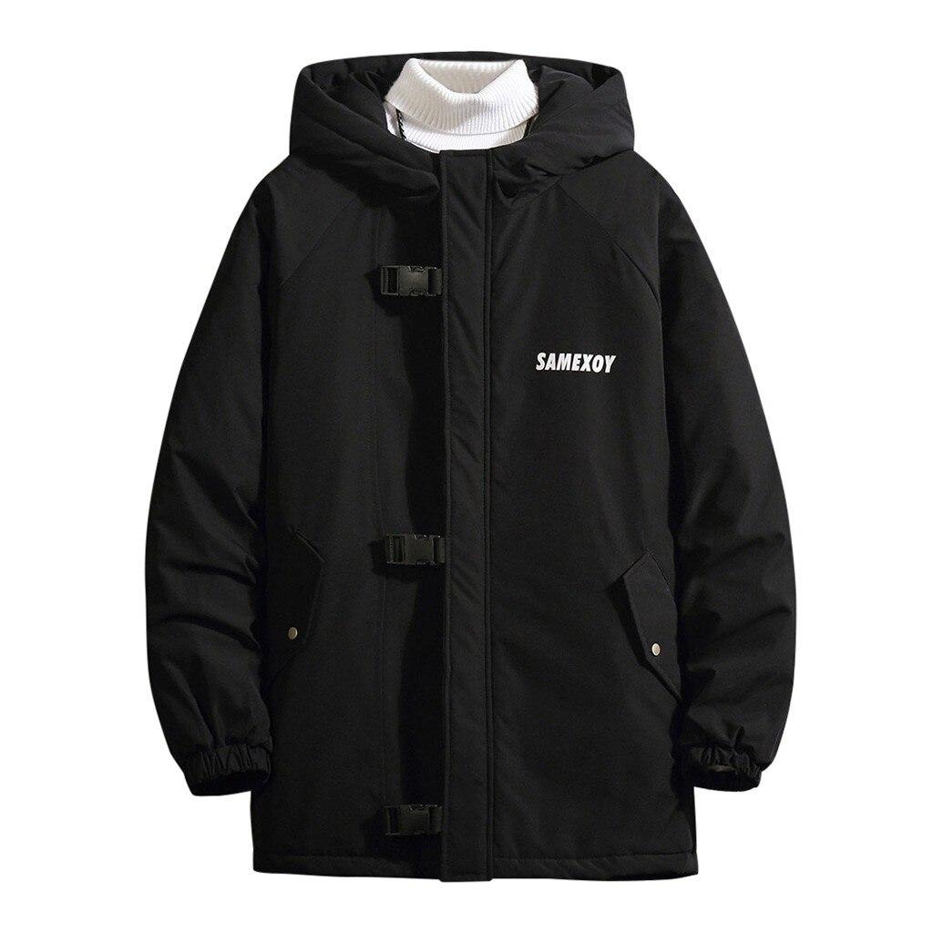 Nueva chaqueta de invierno de moda para hombre, cálida, de otoño e invierno, con capucha de Patchwork, con cremallera, abrigo exterior suelto, cosido, acolchado de algodón, jack #4