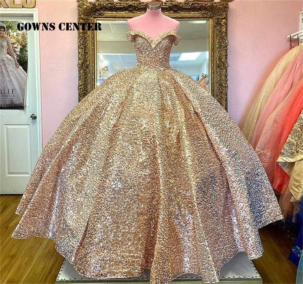 فساتين كوينسيانيرا 2021 بدون الكتف فستان رسمي للحفلات الراقصة سباركلي حلو 15 16 فستان فساتين أعياد الميلاد