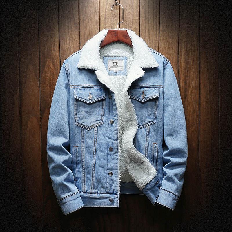 Мужские зимние джинсовые куртки, верхняя одежда, теплые джинсовые пальто, новые мужские куртки большого размера с шерстяной подкладкой, тол...