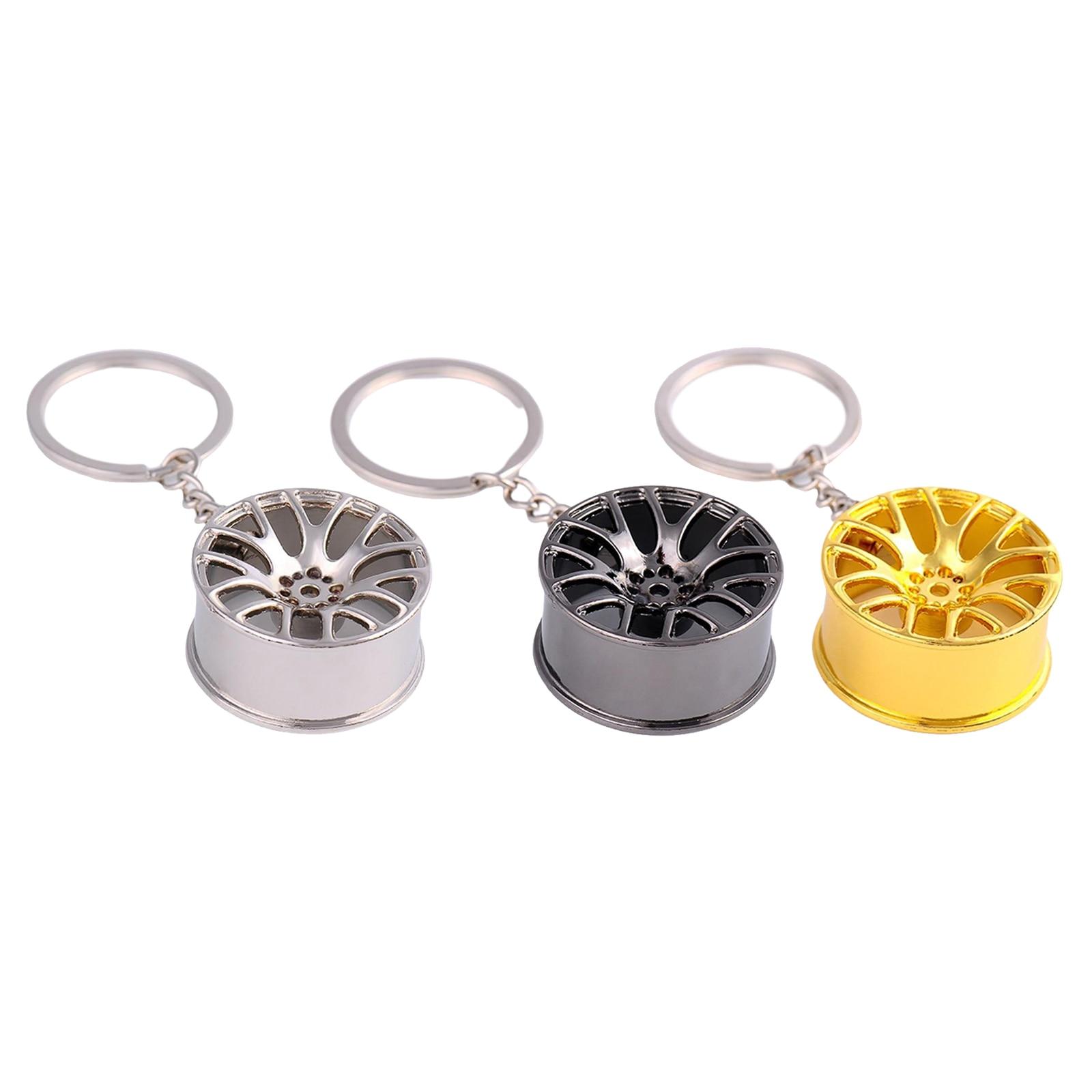 Metal Wheel Rim Keychain Auto Car Handbag Bag Wheel Hubs Key Chain Keyring Holder Hanging Pendant Charm Decor for Woman Man