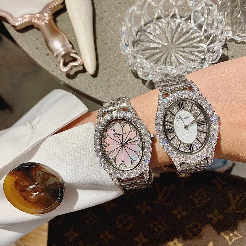 New Women Oval Watches Lady Rose Gold Quartz Watch Stainless Steel Rhinestone Diamond Wristwatches Girls Female relogio feminino enlarge