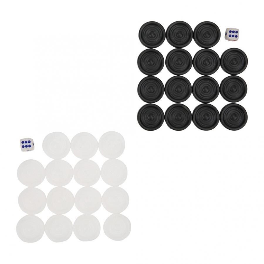 22mm 30 Uds. Negro/blanco Backgammon damas Chips piezas Set de juegos de fiesta familiar juguetes educativos temprano para niños regalo