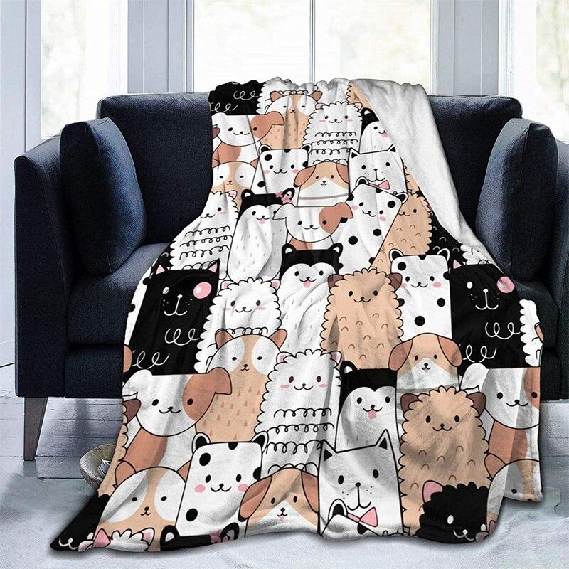 لطيف الكرتون لعبة طرية محشوة على شكل حيوان هدية الفانيلا صوف ليف دقيق المفرش شيربا 3d-print بطانية الأريكة غرفة نوم ديكور