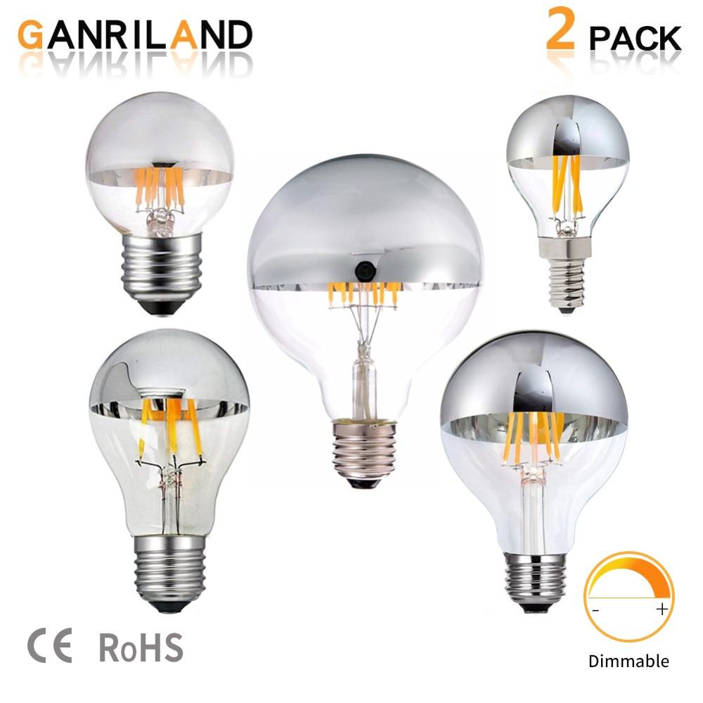 Приглушаемая Светодиодная лампа накаливания E14 E27 G45 с серебристым зеркальным покрытием в стиле ретро, 8 Вт, светодиодные лампочки Эдисона E12 ...