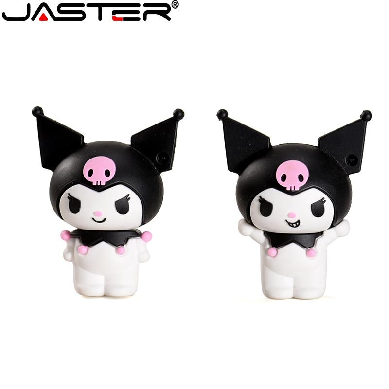 JASTER USB flash drive Kuromi 4GB GB GB 64 32 16GB 128GB de banda desenhada de armazenamento de jóias bonito dos desenhos animados boneca grande capacidade de presente de silicone