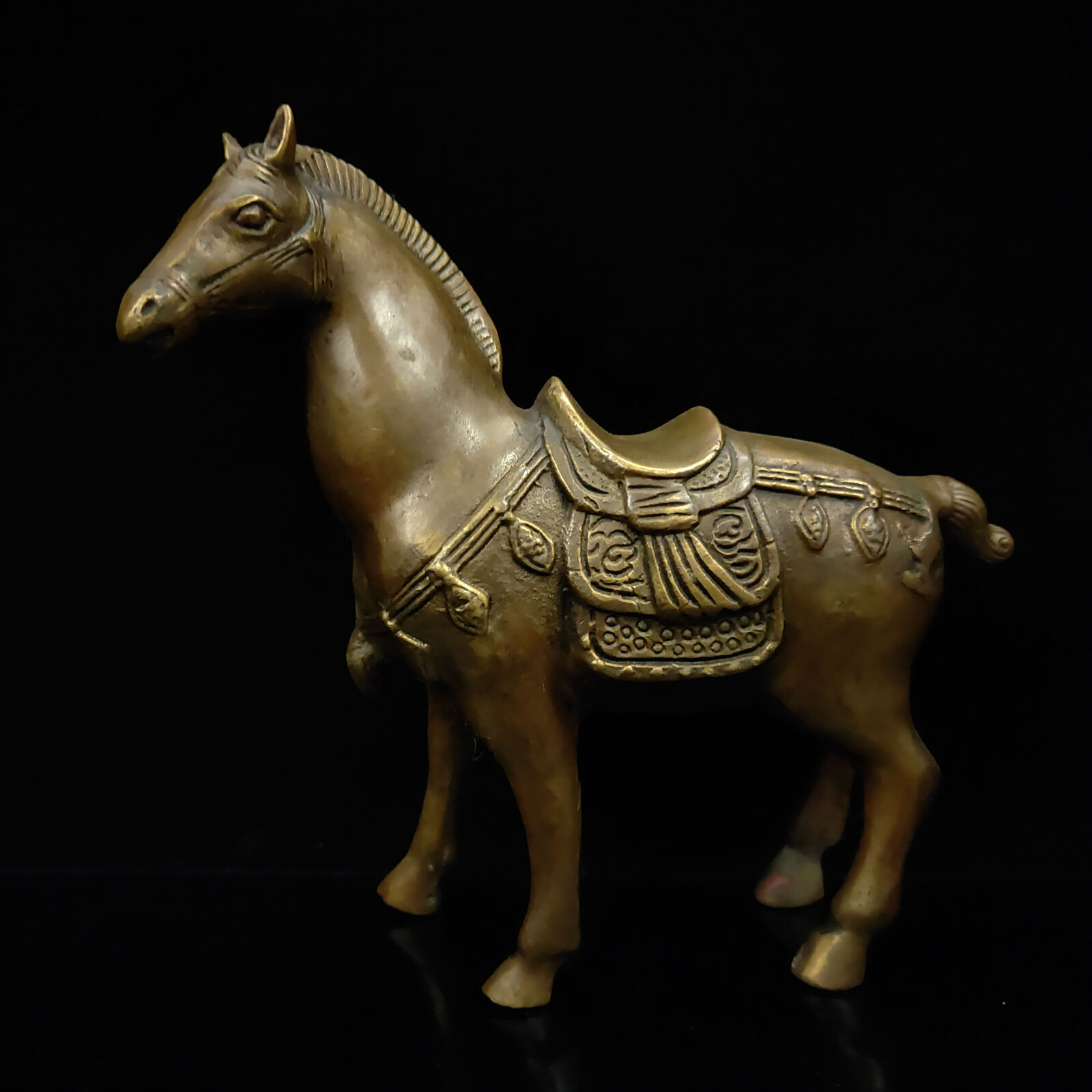 Chinês Antigo Bronze Cavalo Modelo Estátua
