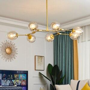 Modern Metal LED Chandelier Lighting Ceiling Lamp Lustre Living Room Villa Interior Decor Lighting Glass Ball Kitchen Fixtures